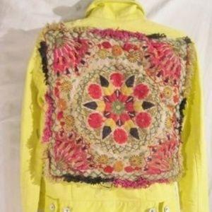 Handmade Womens Denim TAPESTRY YELLOW JEAN JACKET